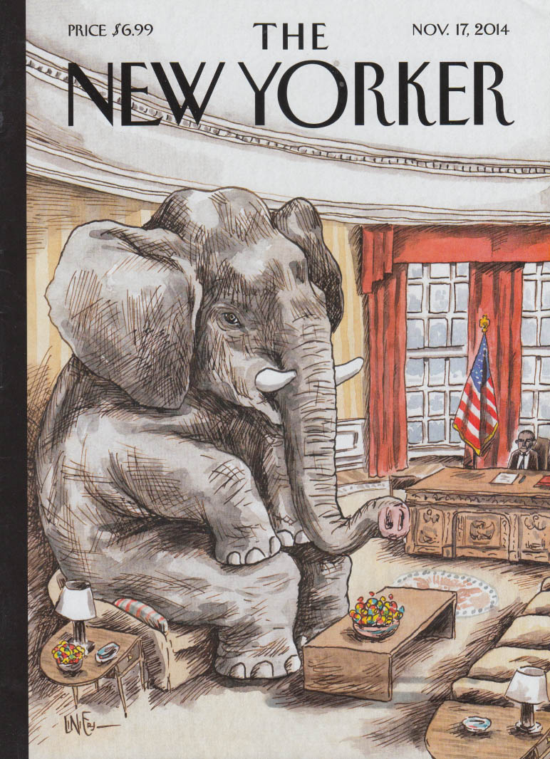 New Yorker cover 11/17 2014 Liniers: GOP Elephant vs Obama in the Oval Office