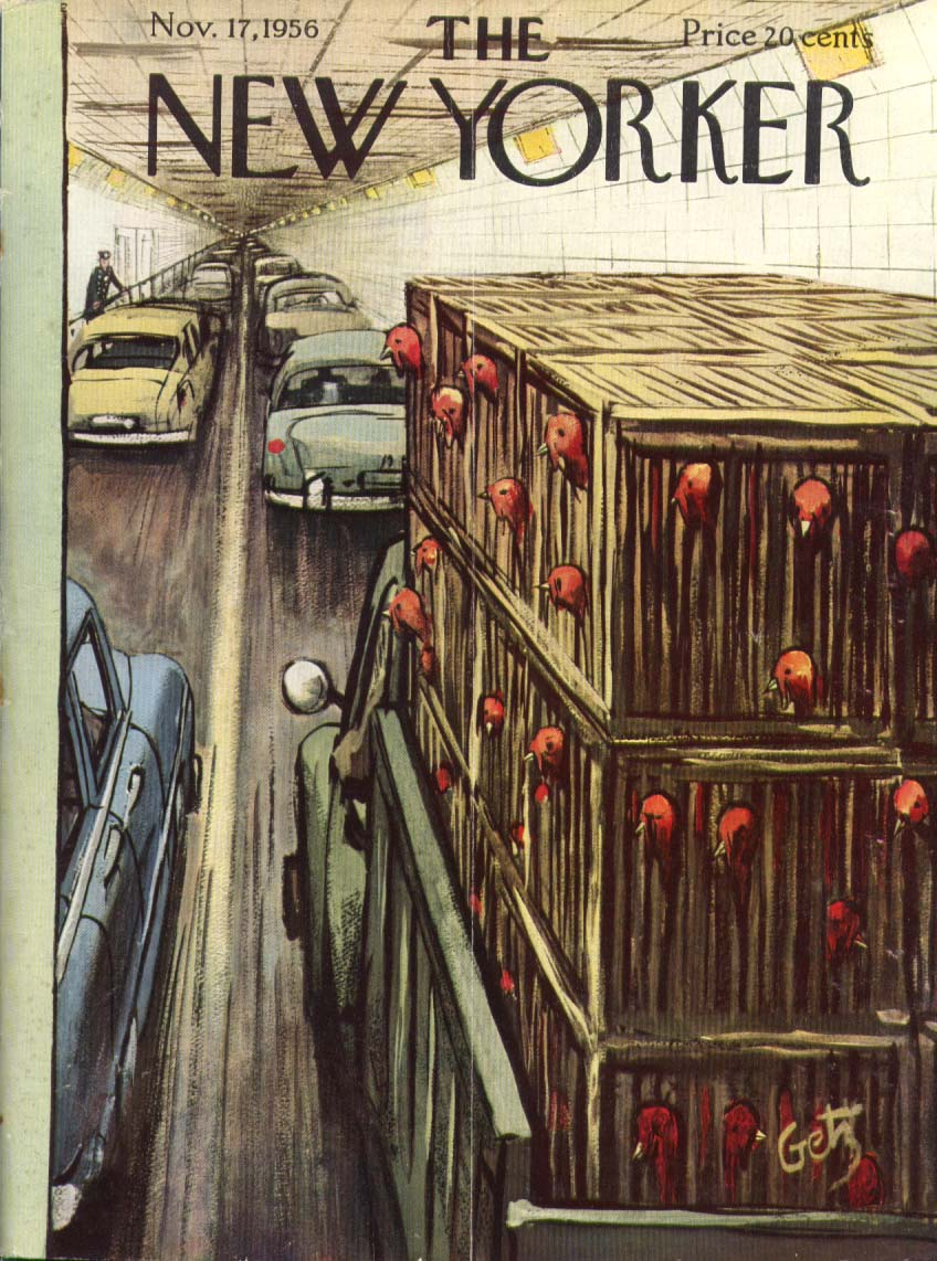 Image for New Yorker cover Getz caged turkey in tunnel 11/17 1956
