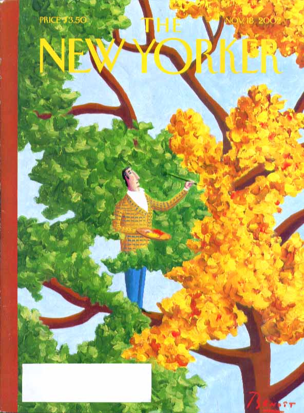New Yorker cover Benoit Van Innis fey artist paints leaves in tree 11/18 2002