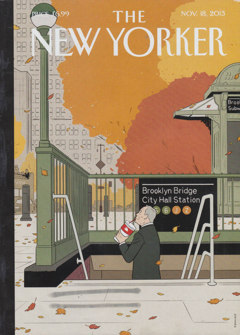 New Yorker cover 11/18 2013 Tomine: Bloomberg hides & sips Big Gulp at Subway