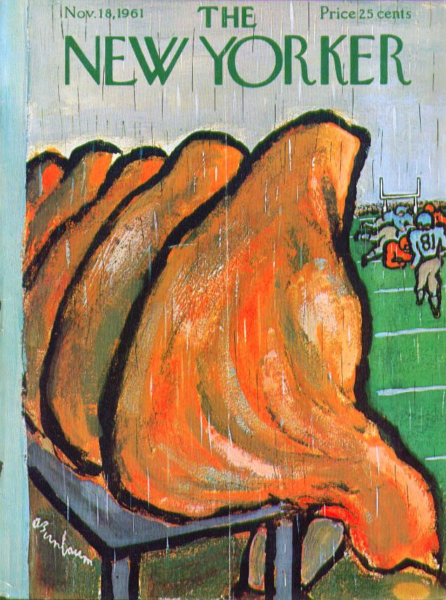 New Yorker cover Birnbaum football bench in rain 11/18 1961