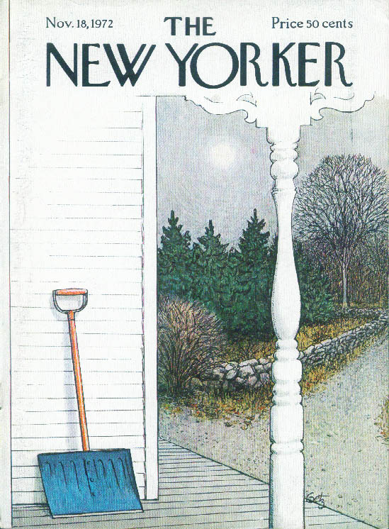 New Yorker cover Getz blue snowshovel waits 11/18 1972