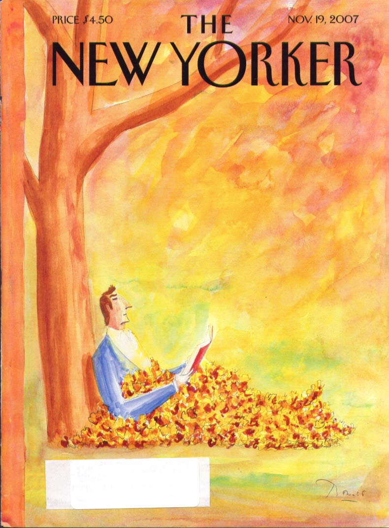 New Yorker cover Benoit leaf pile reader 11/19 2007