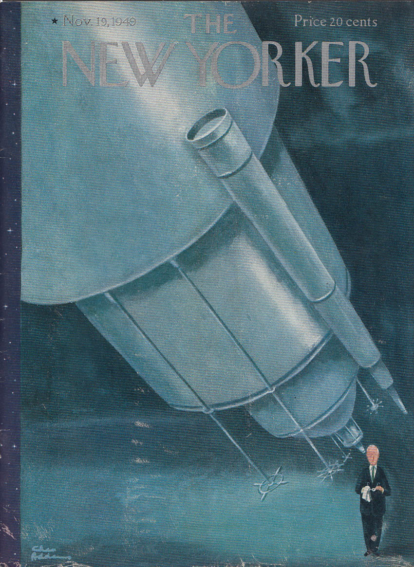 New Yorker cover Addams clean spec telescope 11/19 1949