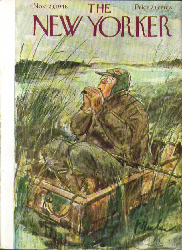 New Yorker cover Barlow Pince nez hunter calls ducks from boat 11/20 1948