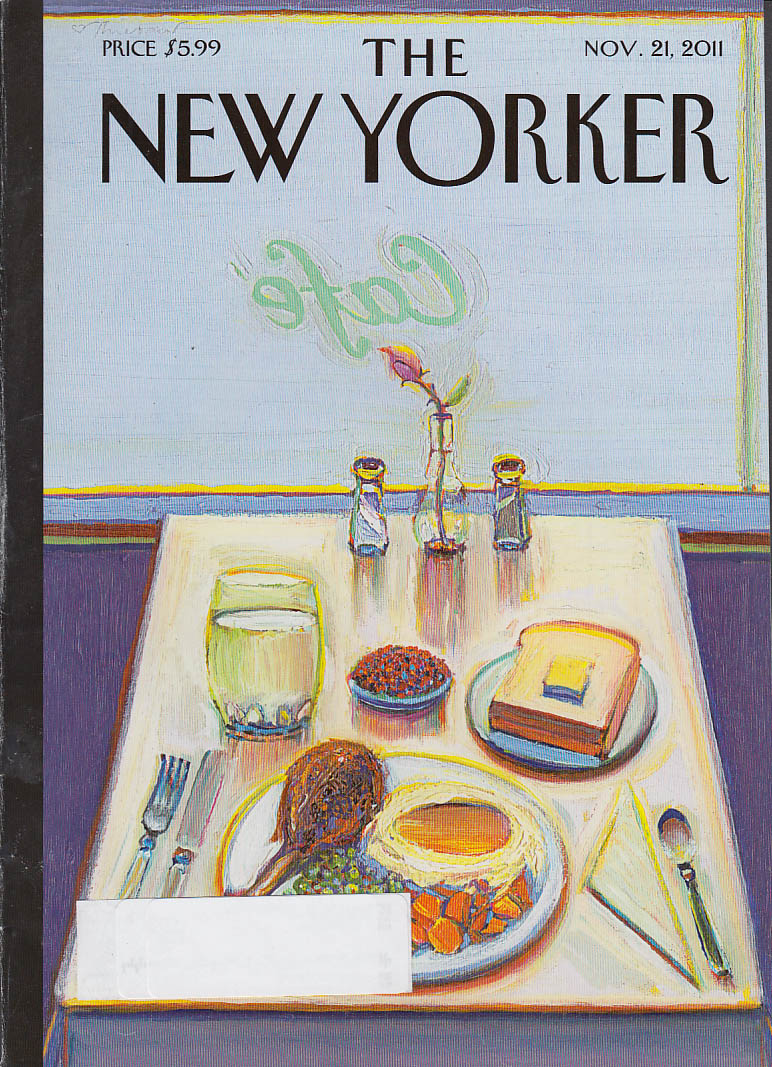 New Yorker cover 11/21 2011 Macaulay: old-fashioned café meal
