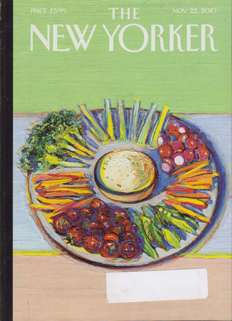 New Yorker cover colorful vegetable Thanksgiving hors d'oeuvre plate 11/22 2010