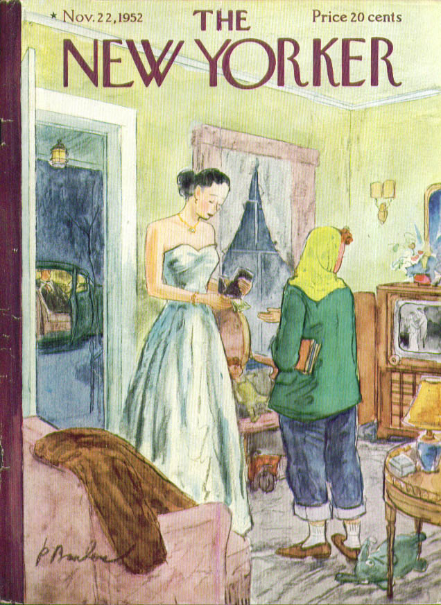 New Yorker cover Barlow paying babysitter 11/22 1952