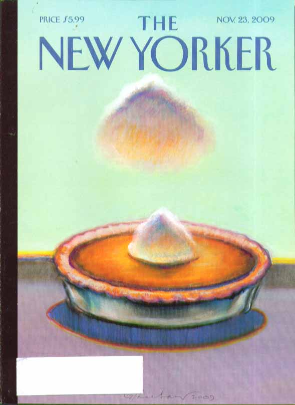 New Yorker cover cloud formation over Thanksgiving pumpkin pie 11/23 2009