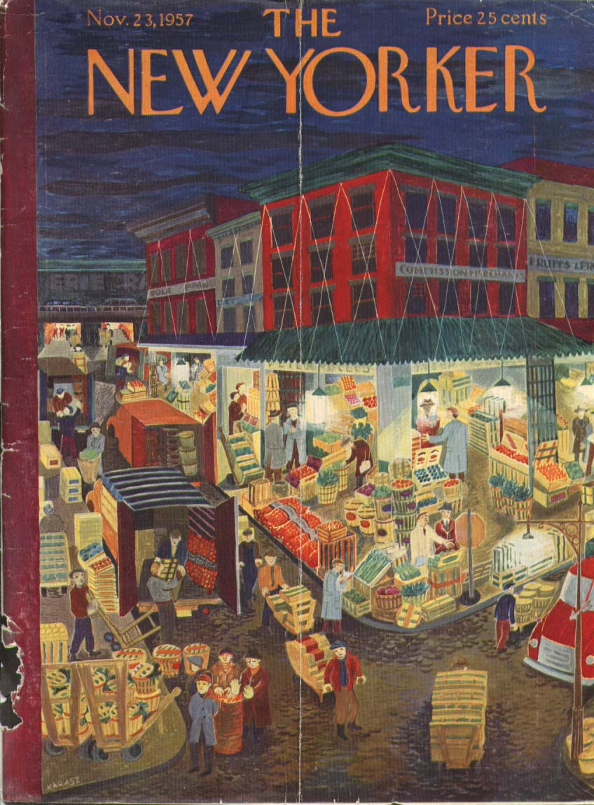 New Yorker cover Karasz early produce mart 11/23 1957