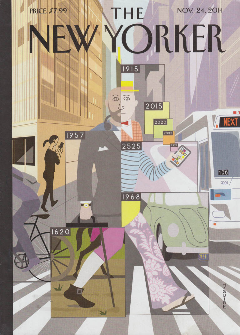 New Yorker cover 11/24 2014 McGuire pedestrian in historical app outfits