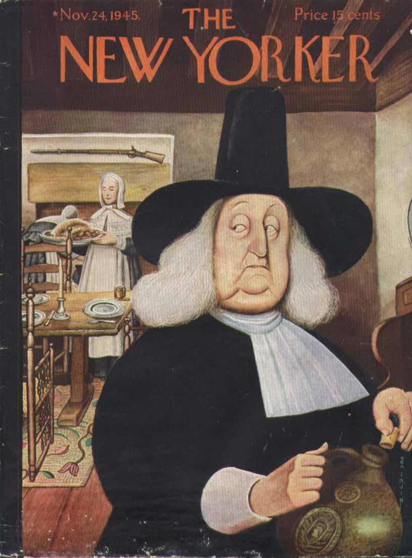 New Yorker cover Irvin Puritan nips from jug 11/24 1945