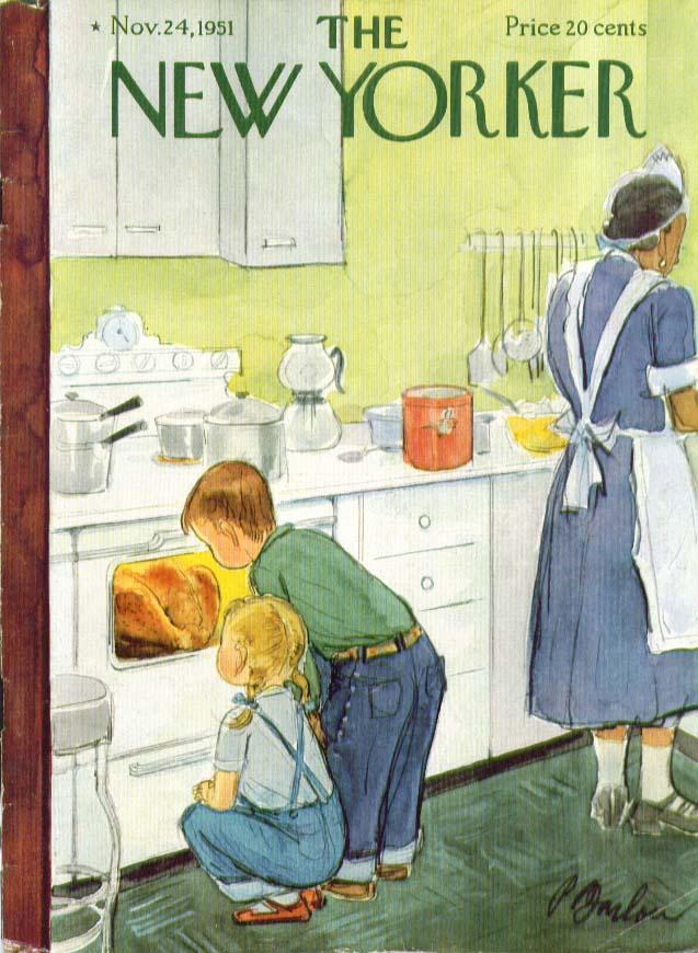 New Yorker cover Barlow kids watch turkey 11/24 1951