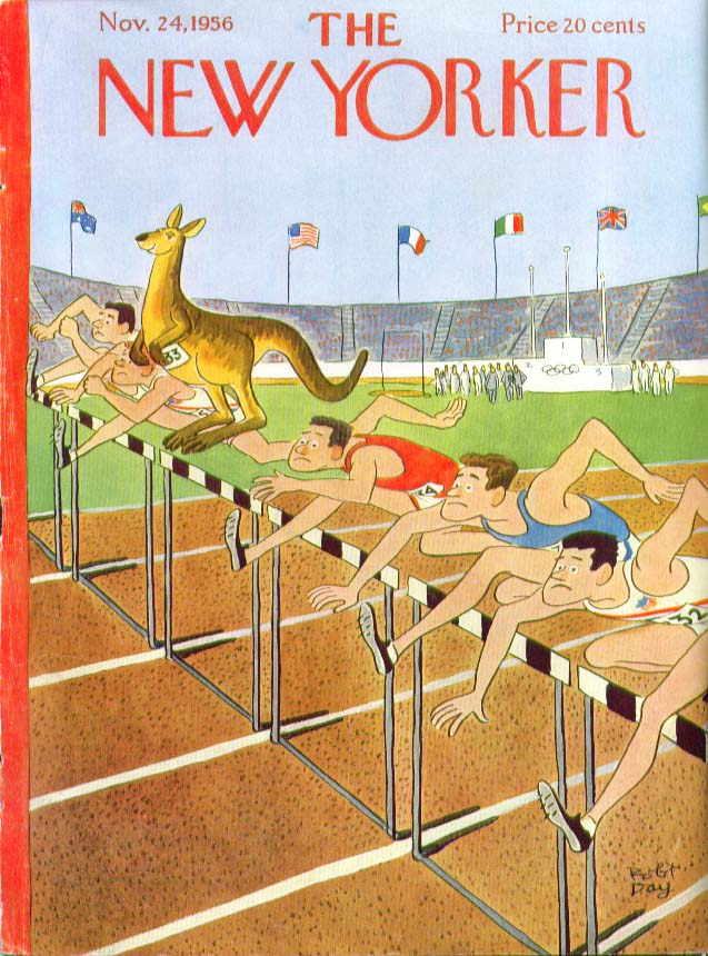 New Yorker cover Day kangaroo beats runners Melbourne Olympics 11/24 1956