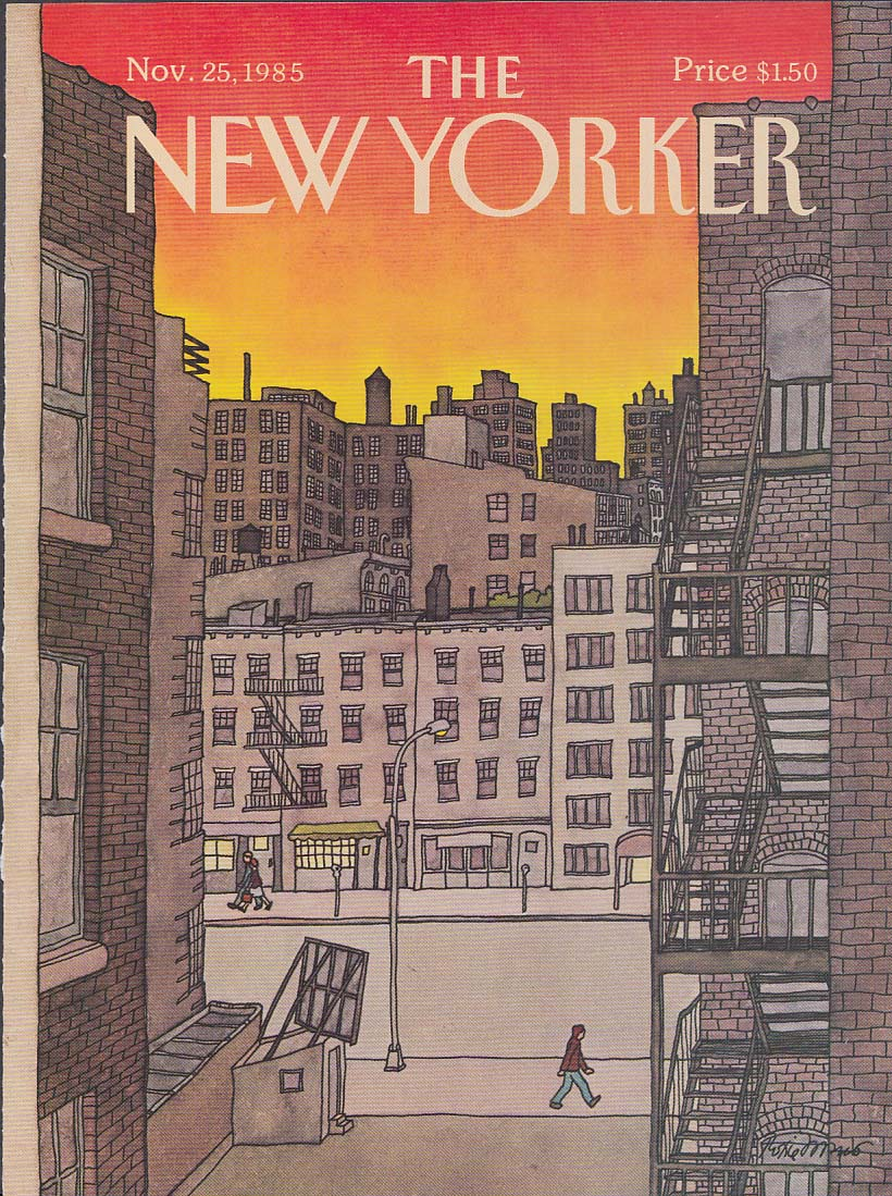 New Yorker cover 11/25 1985 Roxie Munro sunset over apartment skyline
