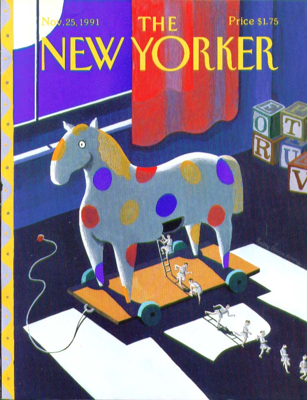 New Yorker cover toy Trojan horse disgorges men 11/25 1991