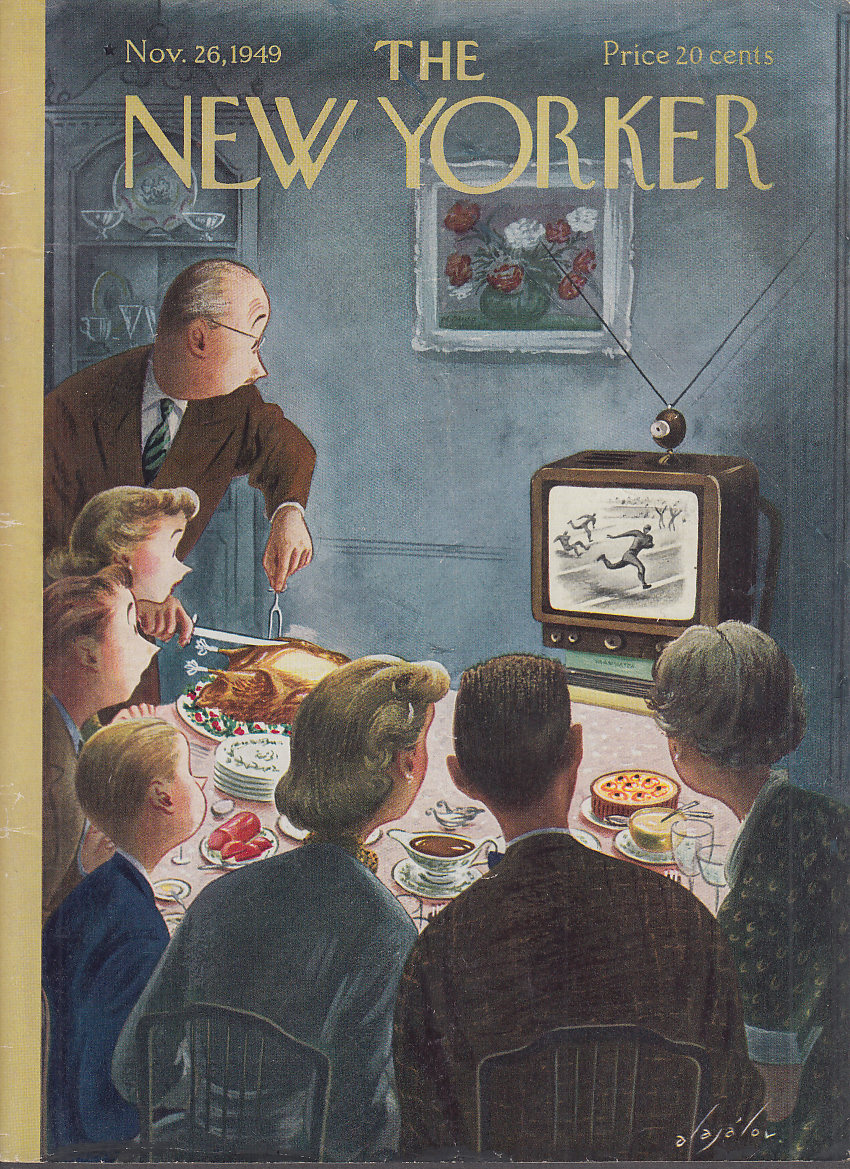 New Yorker cover 11/26 1949 Alajalov carving turkey while TV shows football game
