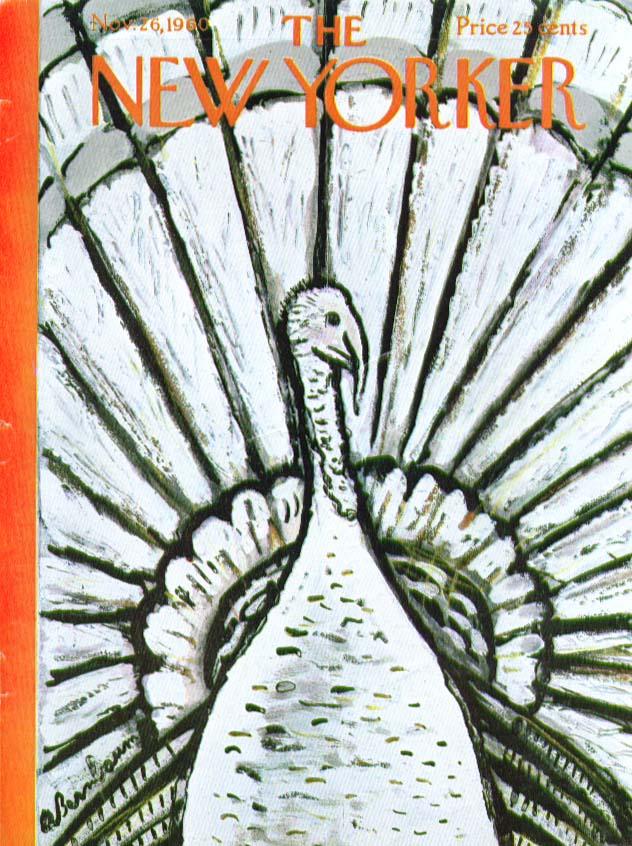 New Yorker cover Birnbaum Thanksgiving turkey spread tail 11/26 1960
