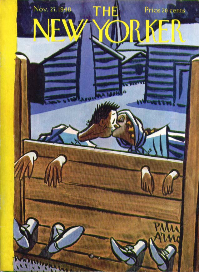 New Yorker cover Arno Puritans kissing in stocks 11/27 1948