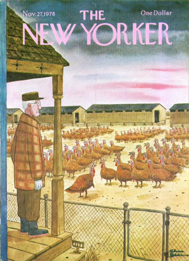 New Yorker cover Addams turkey formation 11/27 1978