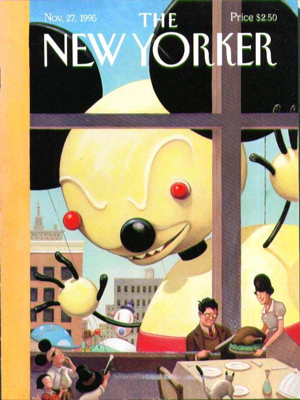 New Yorker cover Joyce Macy's Parade Mouse balloon peeks in window 11/27 1995