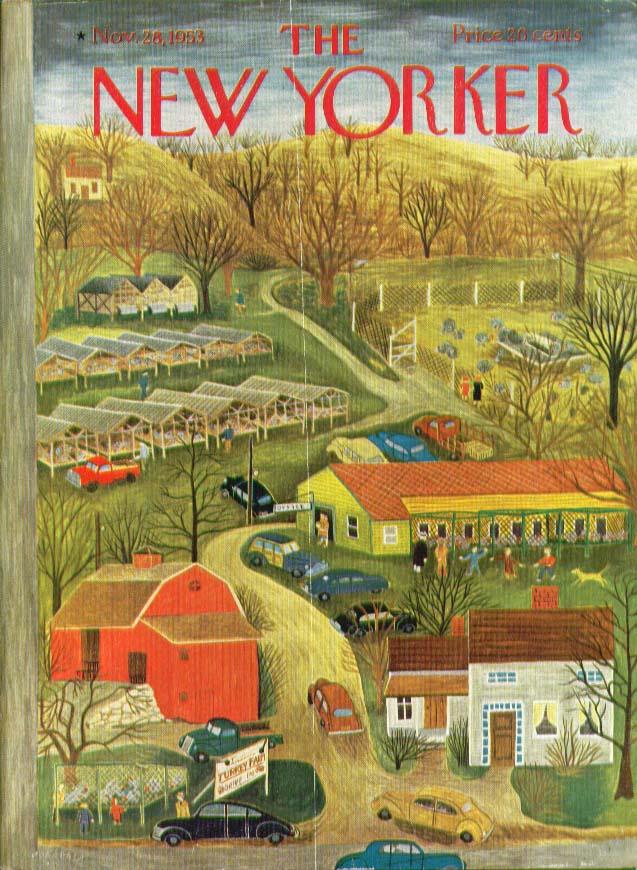 New Yorker cover Karasz turkey farm panorama 11/28 1953