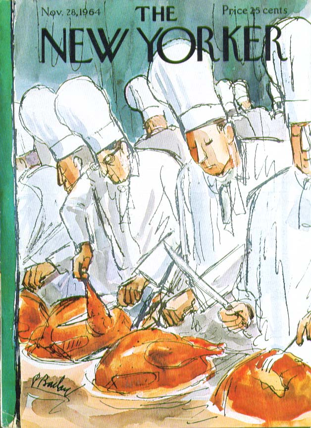 New Yorker cover Barlow chefs carve turkeys 11/28 1964