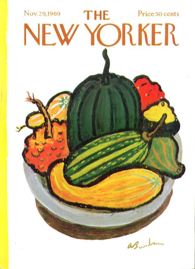 New Yorker cover Birnbaum gourds in bowl 11/29 1969