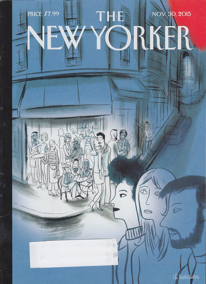 New Yorker cover Berberian 11/30 2015 Corner sidewalk car patrons arrive