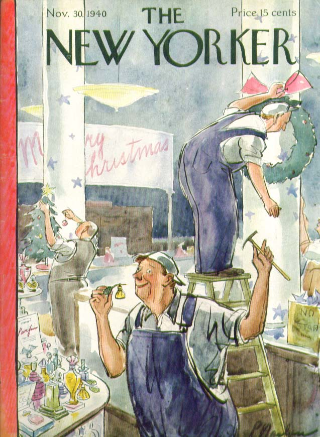 New Yorker cover Barlow Christmas worker sniffs perfume 11/30 1940