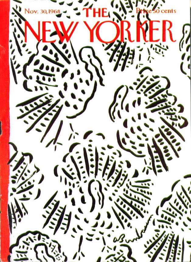 New Yorker cover Birnbaum Thanksgiving turkey pattern 11/30 1968