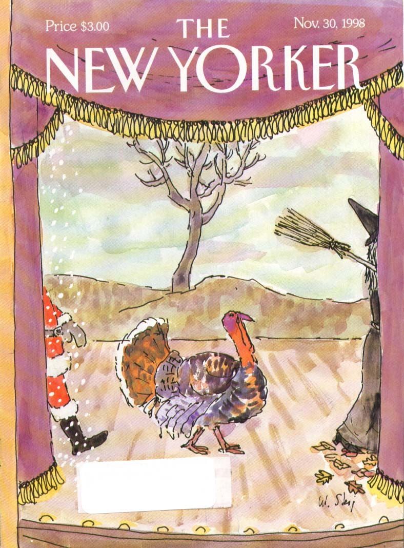 New Yorker cover Steig Thanksgiving turkey between witch & Santa 11/30 1998