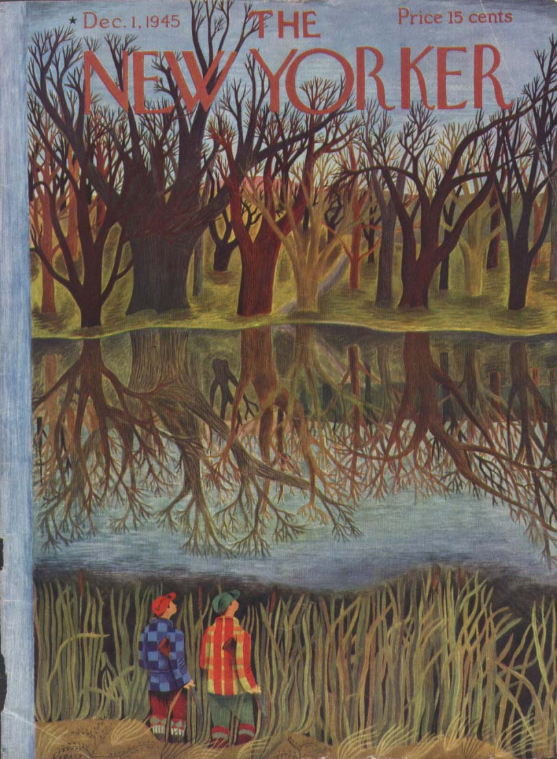 New Yorker cover Karasz hunters in naked wood 12/1 1945