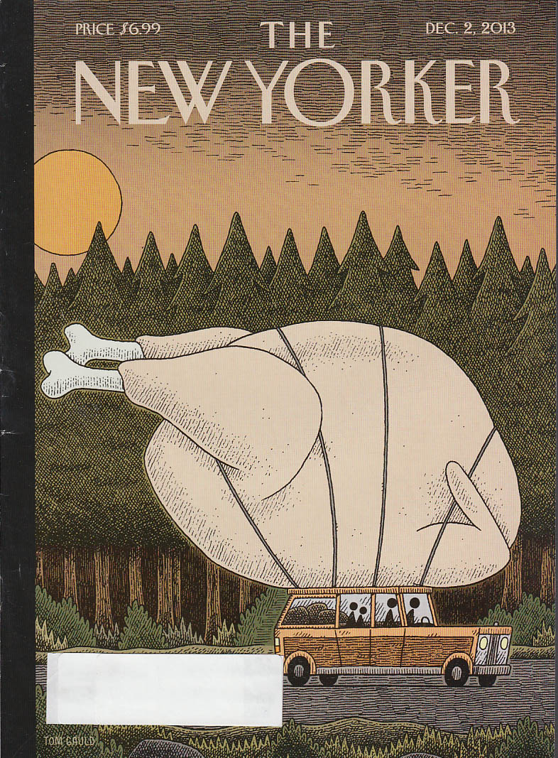 New Yorker cover 12/2 2013 Gauld: biggest turkey ever tied to station wagon