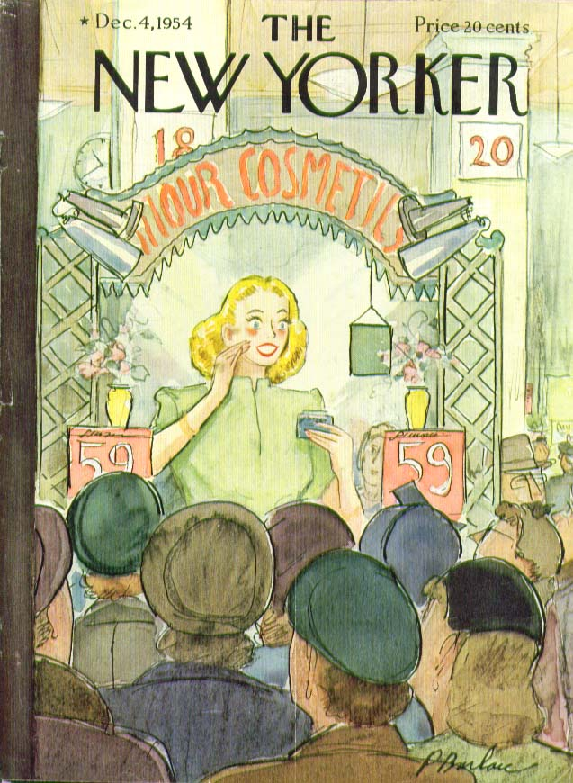 New Yorker cover Barlow store cosmetics girl 12/4 1954