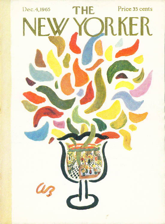 New Yorker cover Barlow vase erupts with flower petals 12/4 1965