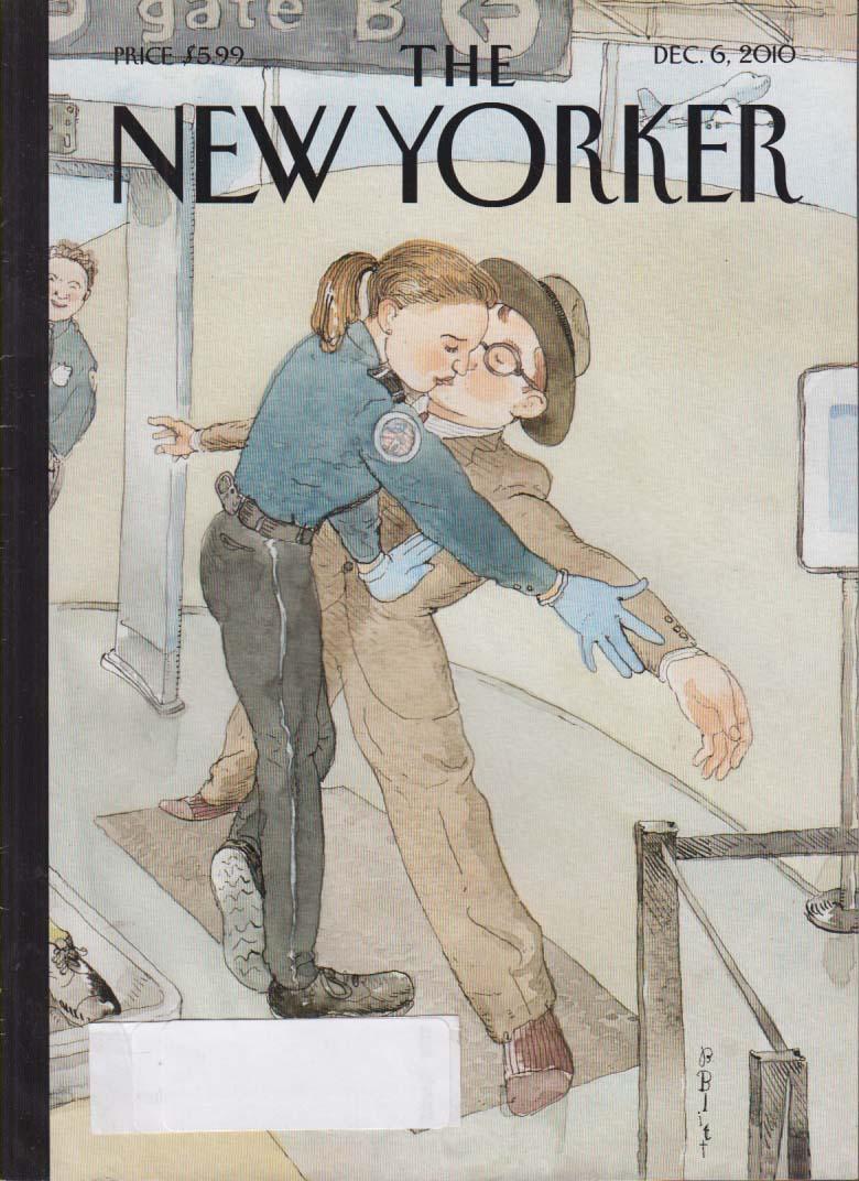 New Yorker cover Blitt TSA lady officer kisses man during pat down 12/6 2010
