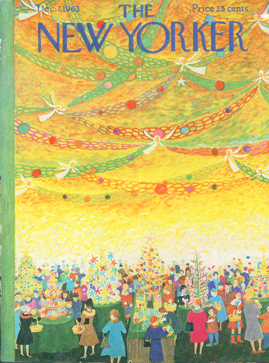 New Yorker cover Karasz angels over Christmas shoppers 12/7 1963