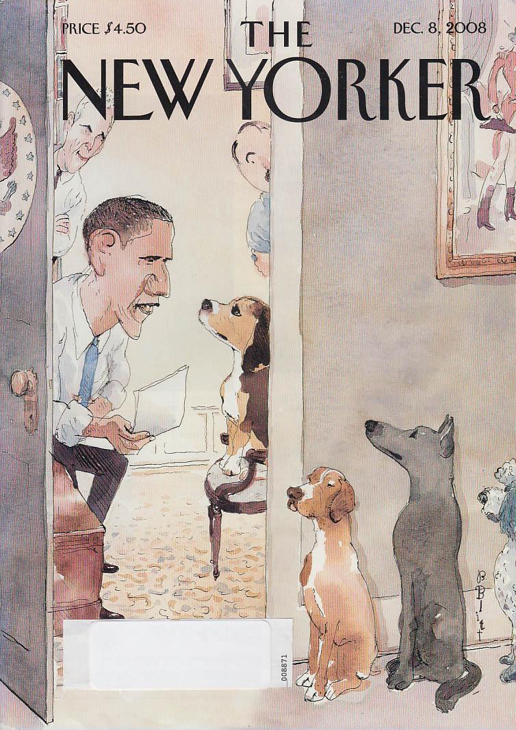 New Yorker cover Blitt 12/8 2008 Obama interviewing for 1st Dog DOTUS