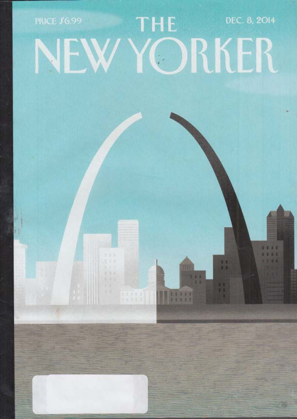 New Yorker cover 12/8 2014 Staake: St Louis Arch broken by white vs black