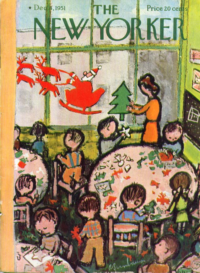 New Yorker cover Birnbaum school Xmas décor 12/8 1951