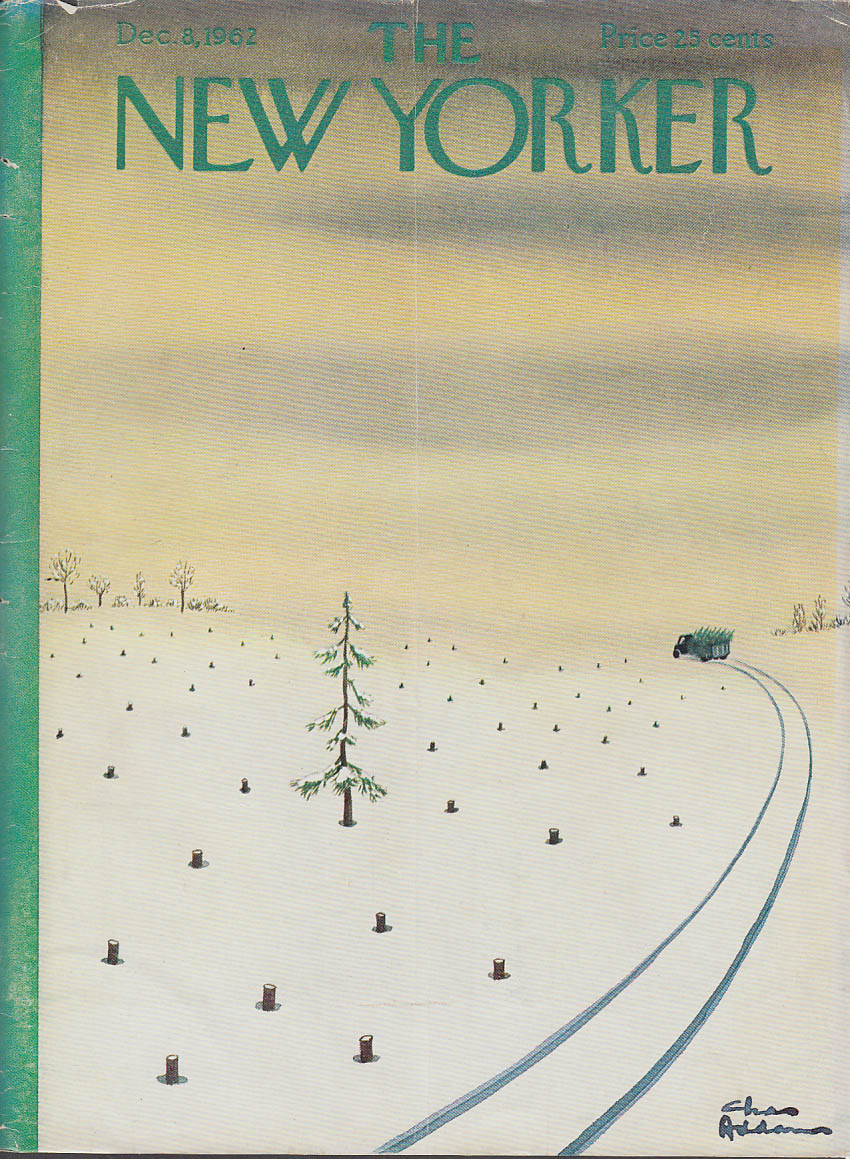 New Yorker cover Chas Addams truck carries Christmas trees all but one 12/8 1962