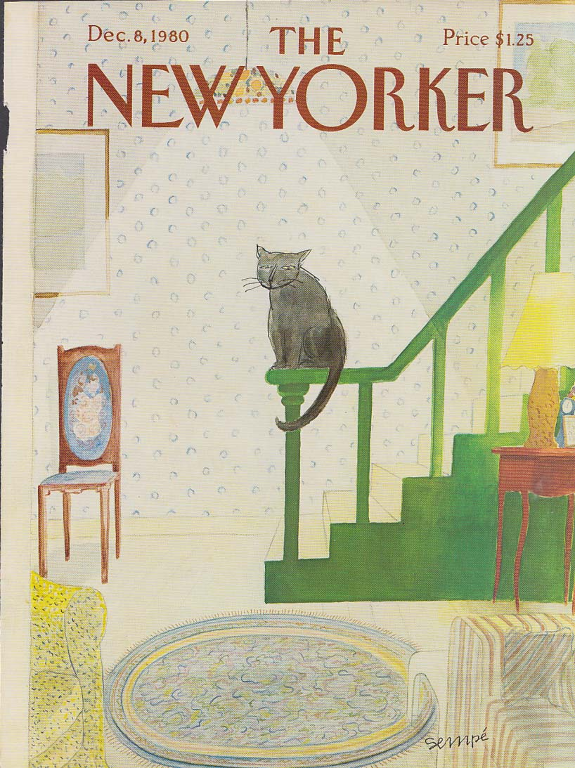 New Yorker cover 12/8 1980 Sempe cat perched on newel post