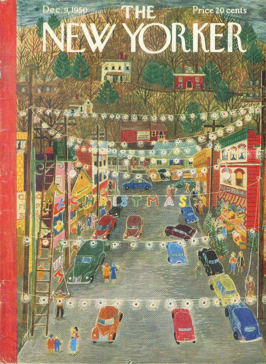 New Yorker cover Karasz Main Street Christmas lights 12/9 1950