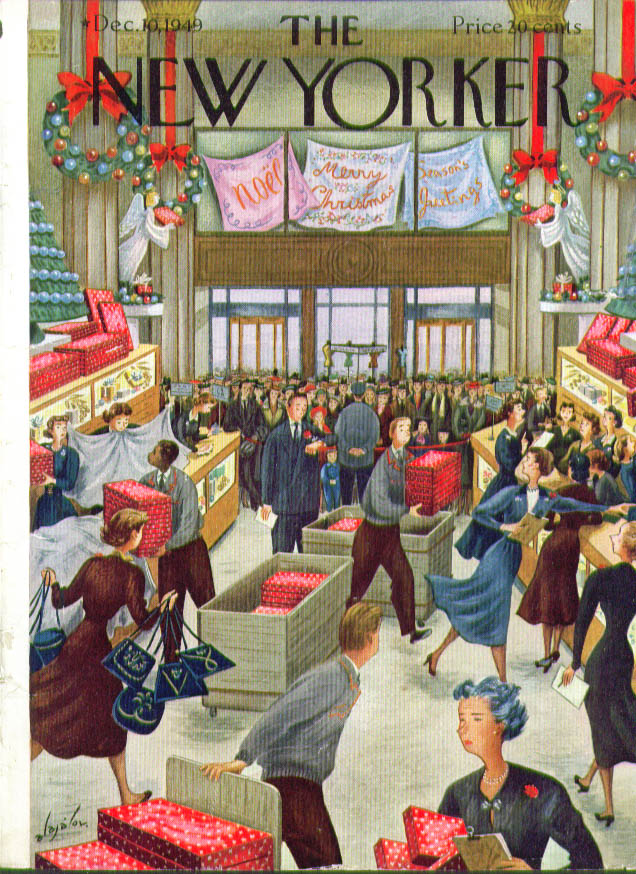 New Yorker cover Alajalov department store opens 12/10 1949
