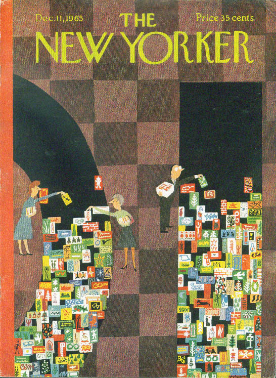 New Yorker cover CEM department store clerks put out Christmas cards 12/11 1965