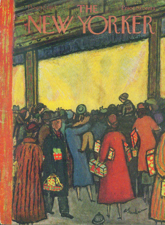 New Yorker cover Birnbaum shoppers crowd street outside store 12/12 1953
