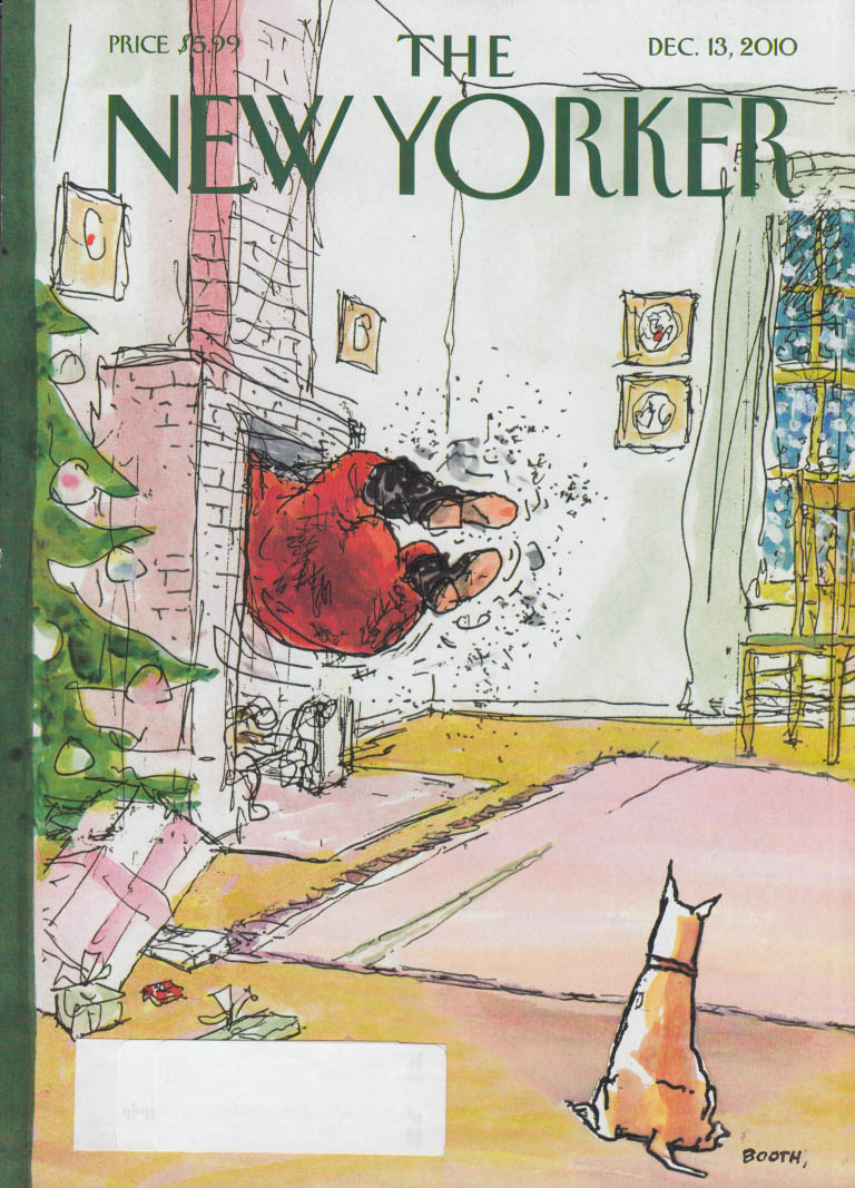 New Yorker cover 12/13 2010 Booth: dog watches Santa caught in chimney