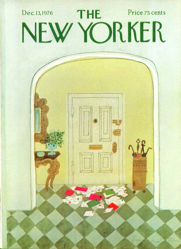 New Yorker cover Allen Christmas cards through mail slot 12/13 1976