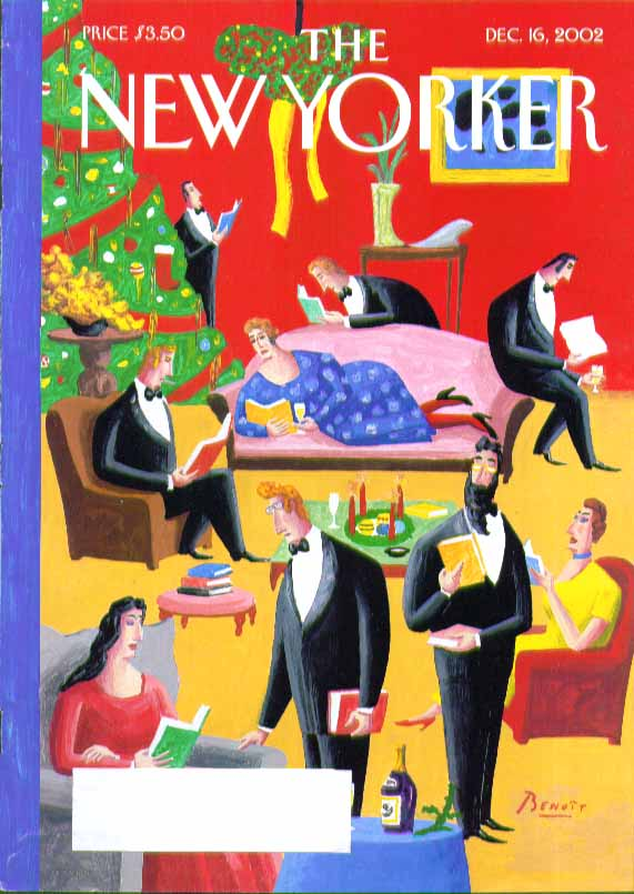 New Yorker cover Benoit everyone reading books at Christmas party 12/16 2002
